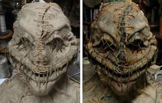Halloween mask or creature head idea. If Jackie wanted to do a scarecrow costume Scarecrow Mask, Scarecrow Costume, Halloween Scarecrow, Creepy Halloween, Halloween Projects, Diy Halloween Decorations, Halloween Masks, Halloween Make Up, Halloween 2019