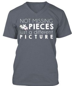 "April is Autism Awareness month!  Do you have a beloved student or child who paints a different picture than the rest?? This ""Not missing pieces just a different picture"" shirt is a great way to show off your love! #SLP #OT #ASD #spectrum #gift #parent #awareness #education #present #SPED #puzzle"