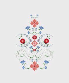 Modern: Kurbits - Hälsinge blomster - Swedish Cultural Heritage