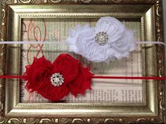 2 Christmas Headbands Red and White by CuteNCoutureBoutique, $14.00
