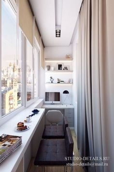 narrow balcony turned into a minimalist home office with open lit up shelving,., a narrow balcony turned into a minimalist home office with open lit up shelving,. Interior Balcony, Balcony Furniture, Apartment Balcony Decorating, Apartment Design, Narrow Balcony, Small Balcony Design, Small Balcony Decor, Balcony Decoration, Balcony Bar