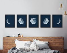 Mond Phasen print Satz Framed Mondphasen Mond Phasen Drucke Moon phases print set of framed moon phases moon phases prints My New Room, My Room, Print Moon, Framed Art Sets, Design Living Room, Wall Prints, Astronomy, Bedroom Decor, Star Bedroom
