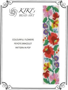 Pattern, peyote bracelet - Colourful flowers peyote bracelet pattern in PDF - instant download
