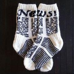 News - sanomalehtisukat (oma malli) Fair Isle Knitting, Knitting Socks, Hand Knitting, Knit Socks, Extreme Knitting, Boot Toppers, My Socks, Sock Shoes, Mittens