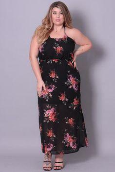 Plus Size Printed Floral Maxi Dress - Black