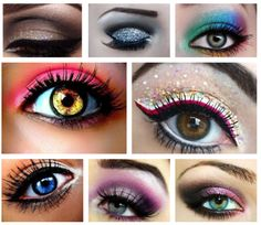 in all of these images the models look like they have different coloured contact lenses in, but the photographer has obviously thought about the eye make-up and how it will go well and how the colours will go well with contact lenses. Stunning Makeup, Love Makeup, Beauty Makeup, Makeup Looks, Hair Beauty, Stunning Eyes, Makeup Inspiration, Makeup Ideas, Makeup Tutorials
