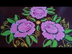 Best Rangoli Design, Rangoli Designs, Indian Rangoli, Diwali Rangoli, Diy Arts And Crafts, Diy Crafts, Latest Rangoli, Beautiful Rose Flowers, Simple Rose