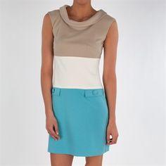 Taylor Color Block Sheath Dress #VonMaur #Taylor #Taupe #Aqua
