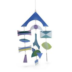Blue Higgins Mobile. For years we have been obsessed with the iconic mid-century designs of Higgins Studio, known for their slumped glass plates and sublime fused-glass mobiles.
