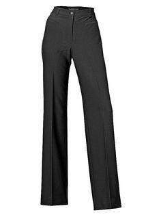 Stylish mit weitem Bein und Hochbund. Hoher Tragekomfort durch Elasthan-Anteil. Gemäßigter Marlene-Stil macht lange Beine. Perfekte Kombination zu kürzeren Oberteilen. Mit Bügelfalte, Eingrifftaschen und Gürtelschlaufen Erhöhte Leibhöhe Schrittlänge bei Normal-Größen ca 83 cm, bei Kurz-Größen ca 77 cm. Materialzusammensetzung: Obermaterial: 75% Polyester, 20% Viskose, 5% Elasthan...