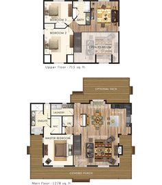 Convert upstairs bedrooms into a Suite and add a finished, walkout basement with 2 smaller suites. Loft Floor Plans, House Floor Plans, Tiny House Cabin, Cozy House, Cottage House, Beaver Homes And Cottages, Sims House, Small House Plans, Architecture Plan