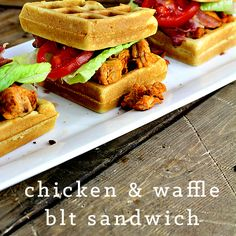 Delicious Chicken and Waffle BLT Sandwich! Totally unique, super easy and delicious! Gotta try it!
