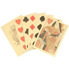 Reproduction 18th Century Playing Cards, hand stamped colored inks on... ❤ liked on Polyvore featuring fillers, cards, decor, misc and paper