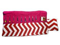 Ergonomic Crochet Hook Set with Chevron Print Carrying Case Organizer
