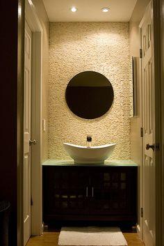 Great powder room #bathroom tiles, shower, vanity, mirror, faucets, sanitaryware, #interiordesign, mosaics, modern, jacuzzi, bathtub, tempered glass, washbasins, shower panels #decorating