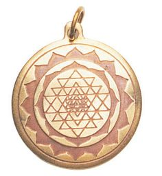 Representing the Jewel in the Lotus, the mystical symbol of all creativity, this amulet is worn for Protection and Good Luck.Shri Yantra Charm for Good Luck