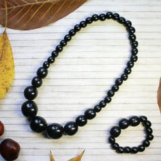 Black necklace set Wooden necklace Handmade от YourStyleAdvisor