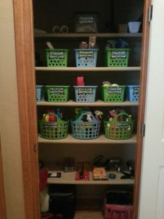 Utility closet organization for $11. Baskets from dollar tree with hand made tags. Cleaning supplies in baskets for each room. Laundry Room Organization, Organization Hacks, Organizing, Utility Closet, Dollar Tree, Getting Organized, Apartment Ideas, Clutter, Closets