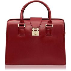 Florian London Eleanor Doctor Style Tote ($525) ❤ liked on Polyvore featuring bags, handbags, tote bags, purses, bolsas, red leather handbag, genuine leather tote bag, genuine leather purse, leather tote and red leather tote