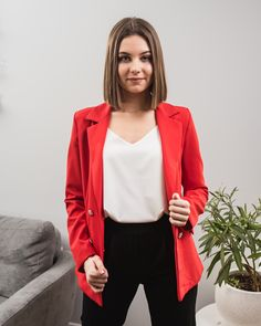 Outfit Ascella.pl red black white shop online wiosna 2020 kobieta nowa kolekcja White Shop, Blazer, Black And White, Red, Jackets, Outfits, Shopping, Women, Fashion