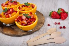 Fruit salad in hollowed-out orange