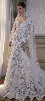 BERTA Bridal Spring 2016 Long Sleevs Wedding Dress