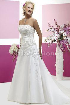 Robe de Mariée Classique Manche Nulle Avec Broderie de Bustier