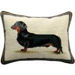 "Dachshund Dog Needlepoint Pillow,16x12"" NEW! $150 VALUE"
