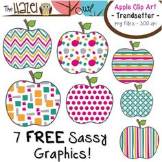 FREE Apples Set: Clip Art Graphics for Teachers {Trendsett