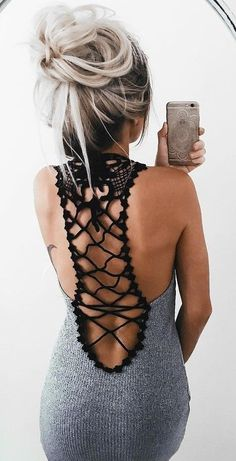 crochet back dress. summer style. pretty hairdo.
