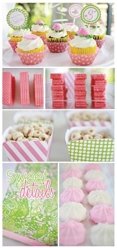 green and pink turle party but the colors work for girl baby shower too  love the pink waffers
