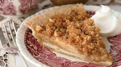 """WB-One of my favorite pies I make ALL of the time!! So quick and easy if you own a food processor and a """"Rotato."""" 45 minutes from start to finish. Recipe for- Apple-Pear Crumble Pie"""