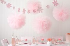 Birthday Table Decorations Pink Pom Poms 41 Ideas For 2019 Tulle Poms, Tulle Balls, Pom Poms, Pink Tulle, Tulle Tutu, Décoration Candy Bar, Baby Shower Planner, Girl Birthday, Birthday Parties