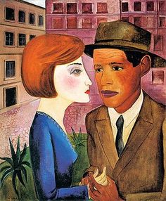 Meeting(1924) - Oil on Canvas - Lasar Segall.