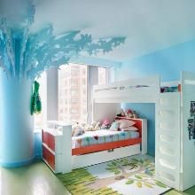 Amazing Blue Theme and Bunk Beds Furniture with Stairs in Kids Small Bedroom Paint Decorating Design Ideas Bright Kids Bedroom Painting Ideas in Modern Bunk Beds Furniture Girls Room Design, Girl Bedroom Designs, Bedroom Ideas, Bedroom Decor, Bedroom Furniture, Design Bedroom, Bed Ideas, Light Bedroom, Bedroom Wall