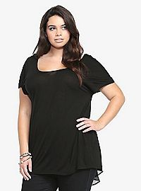 TORRID.COM - Twisted Chiffon-Back Dolman Top