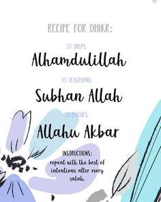 Recipe for Dhikr, Remember Allah Floral 8x10 Printable, Islamic art, dua art print, Quran verse, Had Pray Quotes, Quran Quotes Love, Smile Quotes, Allah Quotes, Islamic Inspirational Quotes, Reminder Quotes, Self Reminder, Self Love Qoutes, Love In Islam
