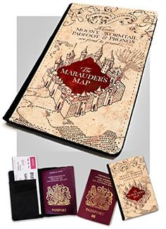 Marauders Map Passport Cover/Holder. Travel protection for your Passport. Harry Potter Inspired Lopo http://www.amazon.co.uk/dp/B00UNDVS96/ref=cm_sw_r_pi_dp_mmXvwb00X93TN