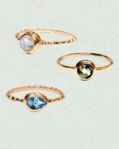 Gemstone Stack Mini Rings - Set of Three in Rose Gold | Sivalya