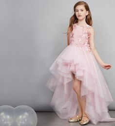 Embroidery Train Gown Gowns For Girls, Frocks For Girls, Wedding Dresses For Girls, Girls Party Dress, Little Girl Dresses, Girls Dresses, Flower Girl Dresses, Birthday Frocks, Birthday Dresses