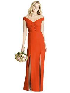 cae608903f6 Social Bridesmaids Style 8186 in Tangerine Tango - https   dessy.com