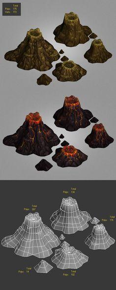 volcanoes low poly