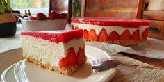 JAHODOVÝ SEN v podobe nepečenej, tvarohovo-smotanovej torty Cheesecake, Desserts, Food, Cheesecake Cake, Postres, Deserts, Cheesecakes, Hoods, Meals