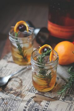 rosemary old fashioned by Delightfully Tacky, via Flickr | Stir 2 tsp rosemary syrup and 2 dashes angostura bitters in a whiskey glass. Add ice and top with 1.5 oz bourbon or whiskey.