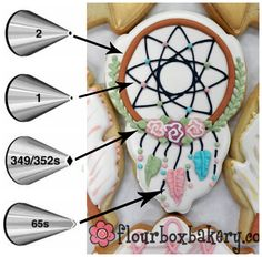 Flour Box Bakery has hand-iced decorated cookie gifts and favors, how-to cookie decorating video tutorials, and professional and affordable decorating supplies. Iced Cookies, Cookies Et Biscuits, Cupcake Cookies, Sugar Cookies, Cupcakes, Cookie Icing, Royal Icing Cookies, Cookie Cutters, Dream Catcher Cake