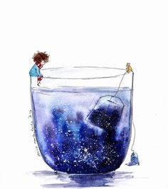 Illustration by Manka Kasha – Ego – AlterEgo – jigging Art And Illustration, Watercolor Illustration, Watercolor Paintings, Illustrations, Galaxy Painting, Galaxy Art, Vexx Art, Christmas Drawing, Cute Drawings