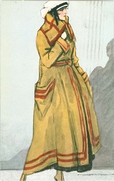 Fashion illustration by Marcello Dudovich, 1922, Girl in a yellow coat.