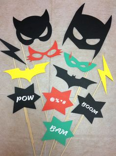 12pcs Photo Booth Props Batman  Catwoman  Robin  by madforads. Superheroes are always fun.
