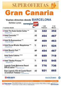 Oferta Gran Canaria, salidas en Febrero y Marzo desde Barcelona