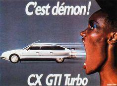 The fantastic Grace Jones in a 1985 Citroën CX 2 car commercial directed by Jean-Paul Goude. Grace Jones, Retro Ads, Vintage Advertisements, Vintage Ads, Citroen Ds, Saga, Jean Paul Goude, Gt Turbo, Bad To The Bone